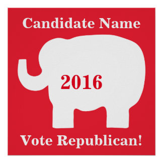 Red White Elephant Vote Republican Candidate Poster