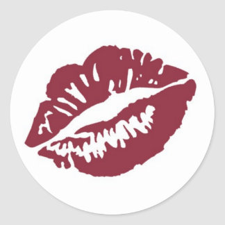 Red white fade lips smooch kiss stickers