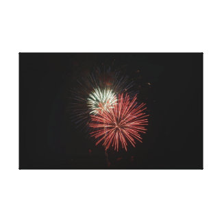 Red & White Fireworks Canvas Print