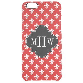 Red White Fleur de Lis Black 3 Initial Monogram Clear iPhone 6 Plus Case