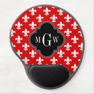 Red White Fleur de Lis Black 3 Initial Monogram Gel Mouse Pad