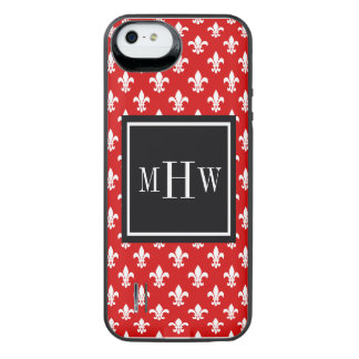 Red White Fleur de Lis Black Sq 3 Initial Monogram iPhone SE/5/5s Battery Case