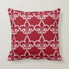 Red White Fleur de Lis Chain Pattern Cushion
