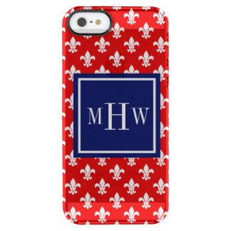 Red White Fleur de Lis Navy Sq 3 Initial Monogram Clear iPhone SE/5/5s Case