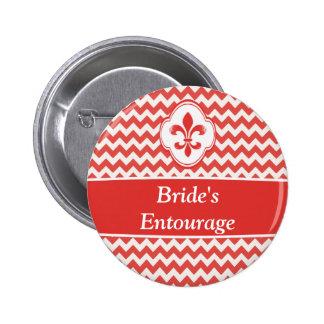 Red White Fleur de Lis Wedding Party Buttons