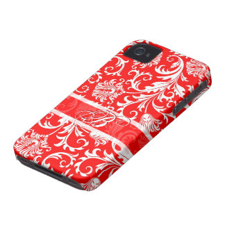 Red& White Floral Damasks Customized iPhone 4 Covers