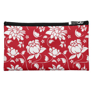 Red & White Floral Damasks Pattern Cosmetic Bag