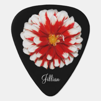 Red & White Floral Guitar Pick