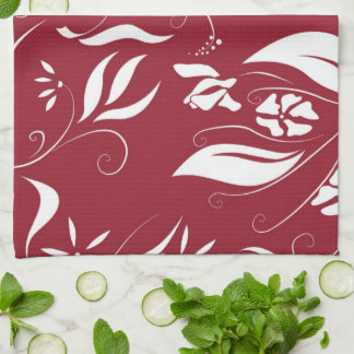 Red White Floral Kitchen Cloth Towel