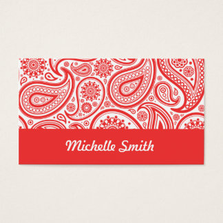 Red White Floral Paisley Pattern Business Card