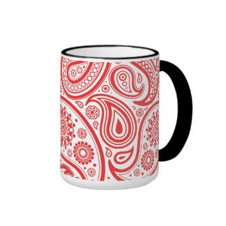 Red White Floral Paisley Pattern Coffee Mug