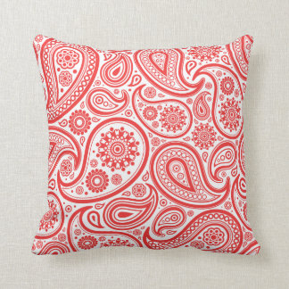 Red White Floral Paisley Pattern Throw Pillow