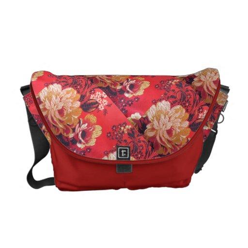 Red White Floral pattern Rickshaw Messenger Bag
