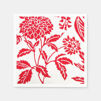 Red & White Floral Print Napkins Paper Serviettes