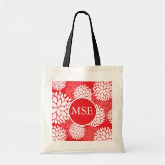 Red White Flower Monogram Tote Bag