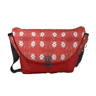 Red White flower pattern Courier Bags
