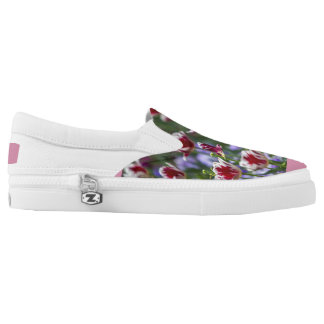red, white, flower, spring, nature, floral, colorf printed shoes