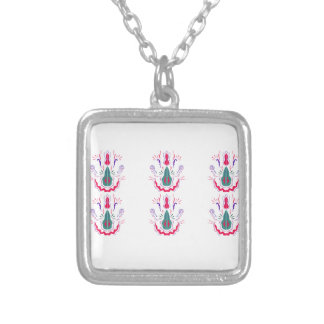 Red white folk ornaments silver plated necklace