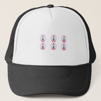 Red white folk ornaments trucker hat