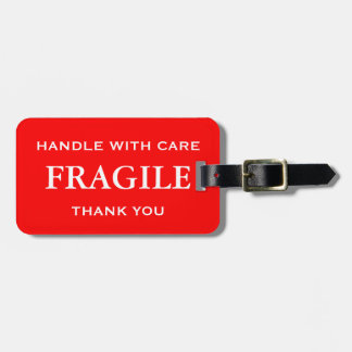 Red White Fragile Handle with Care Thank You Luggage Tag