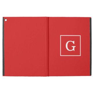 Red White Framed Initial Monogram