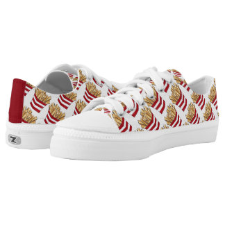 Red White French Fry Fast Food Fries Print Sneaker