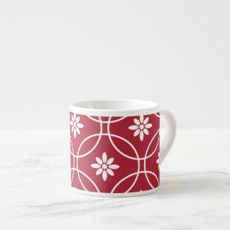 Red White Geometric Floral Pattern Espresso Mug
