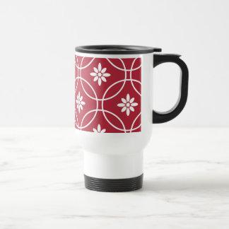 Red White Geometric Floral Pattern Mugs