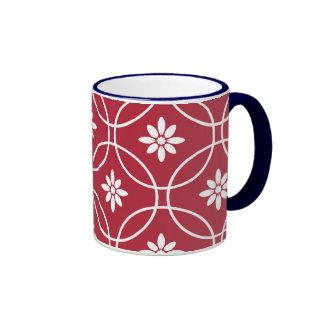 Red White Geometric Floral Pattern Ringer Coffee Mug