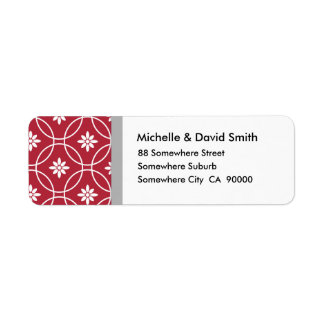Red White Geometric Floral Pattern Return Address Label