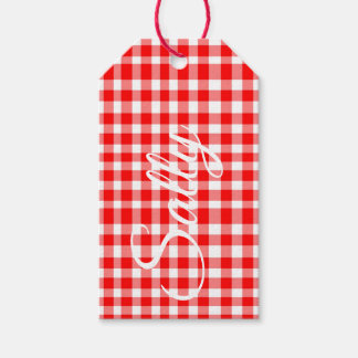 Red/White Gingham Personnalised Gift Tags