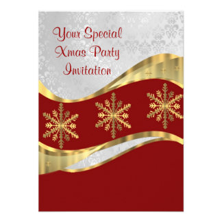 Red  white & gold Christmas Custom Announcements