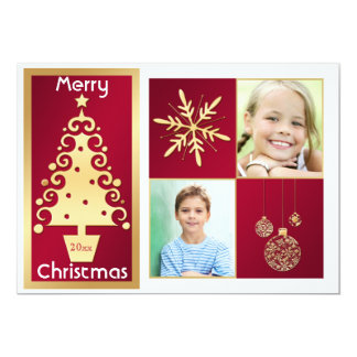 """Red, White, Gold Christmas Tree Christmas Card 5"""" X 7"""" Invitation Card"""
