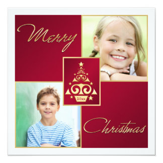 """Red, White, Gold Christmas Tree Christmas Card 5.25"""" Square Invitation Card"""