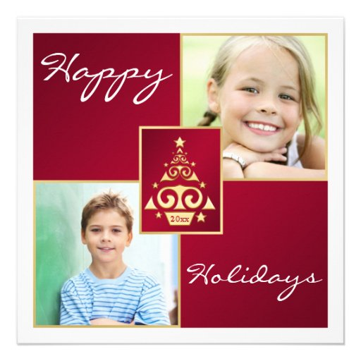 Red, White, Gold Christmas Tree Holiday Card Personalized Invitation