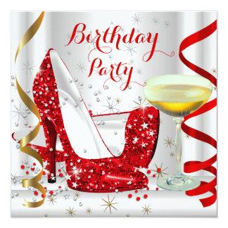 Red White Gold Glitter High Heels Champagne 4 5.25x5.25 Square Paper Invitation Card