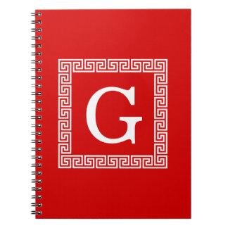 Red White Greek Key 1 Framed Monogram Spiral Note Book