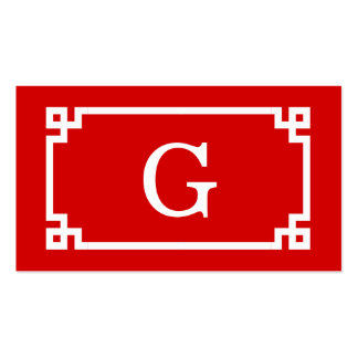 Red White Greek Key Frame #2 Initial Monogram Pack Of Standard Business Cards