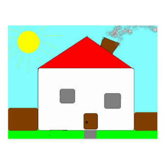 Red White Green Blue House Drawing, Art By Kids :) Postcard