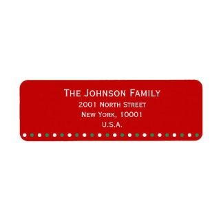 Red White Green Christmas Return Address Labels
