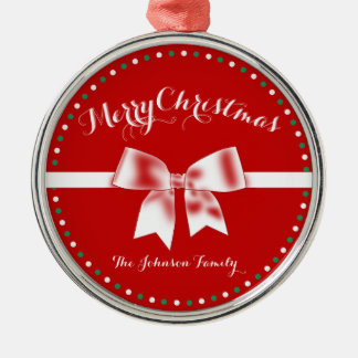 Red White Green Custom Christmas Ornaments Bow
