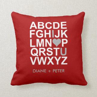 Red White Grey Heart Love Pillow Throw Cushion