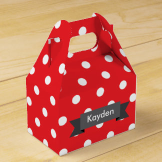 Red White Grey Polka Dot Custom Name Party Favour Boxes