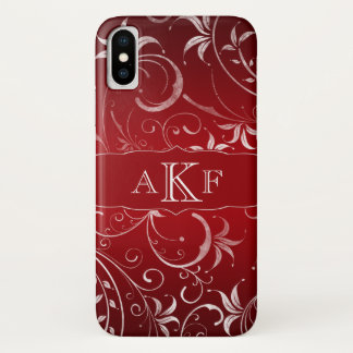 Red White Grunge Floral Damask Monogram iPhone X Case