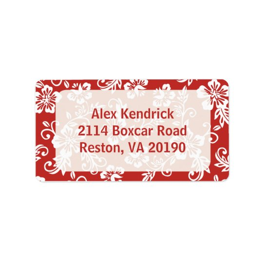 Red/White Hawaiian Address Labels