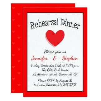 Red & White Heart Black Wedding Rehearsal Dinner 13 Cm X 18 Cm Invitation Card