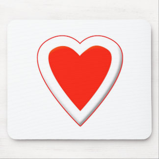 Red & White Heart Mouse Pad