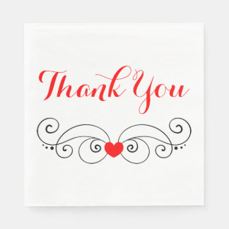 Red  & White Heart Thank You Wedding Paper Serviettes