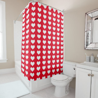 Red White Hearts Pattern Shower Curtain