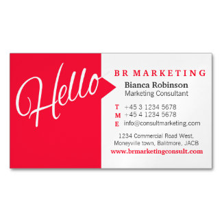 Red white hello speech quote business card